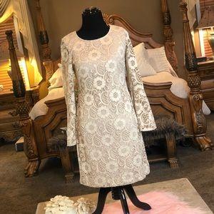Amanda Lane Nude Color Lace Dress Size SP